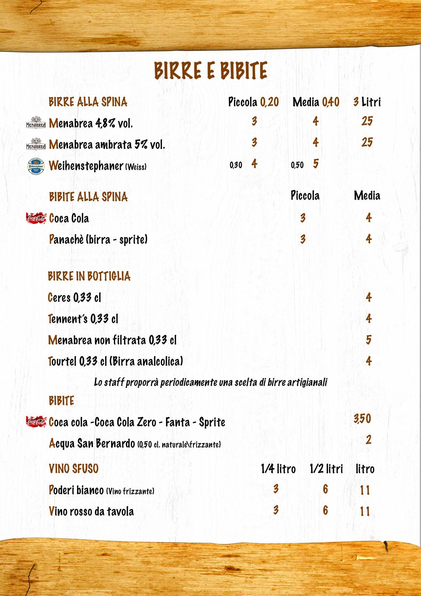 BIRRE E BIBITE menù casale 93-10