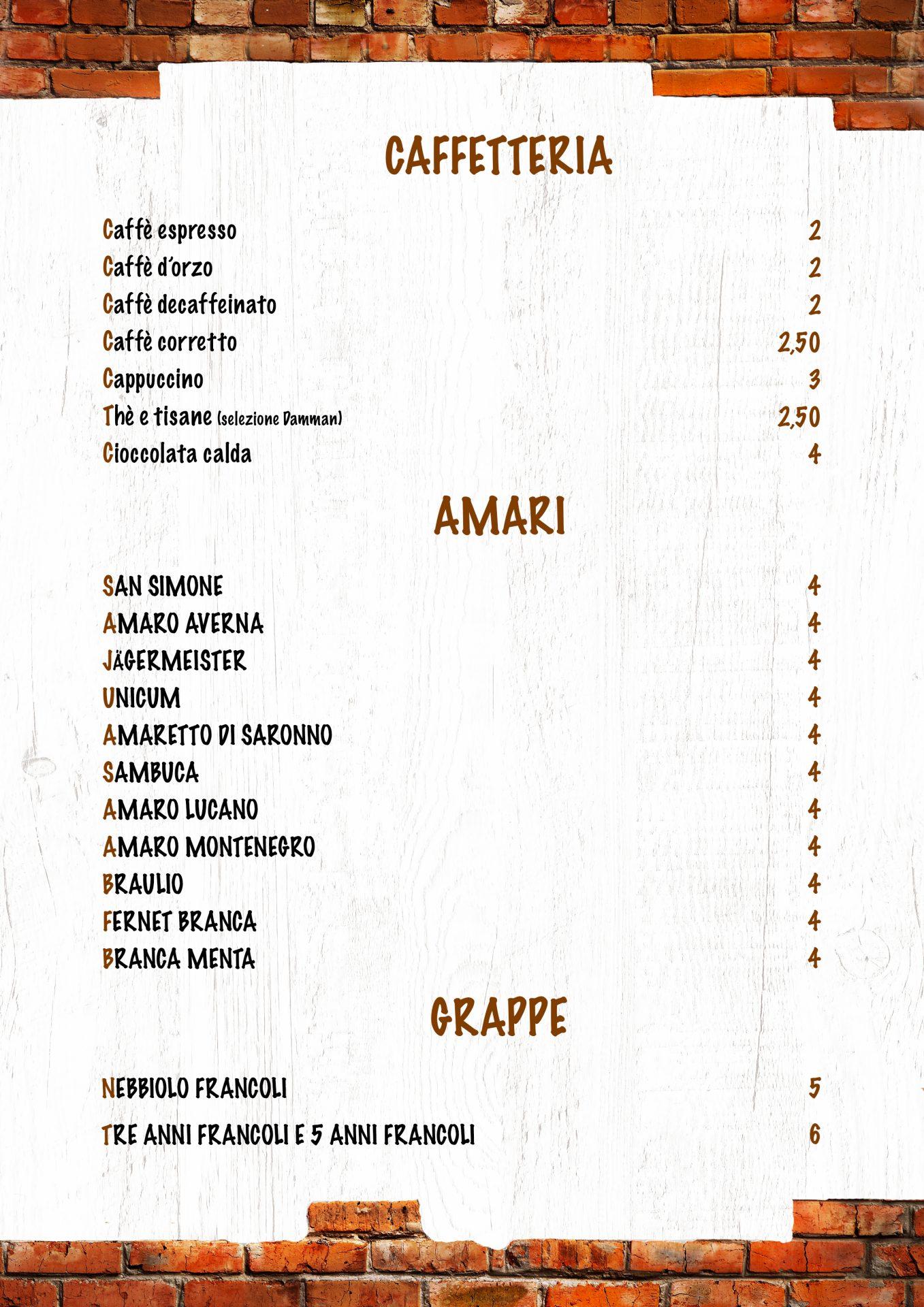 CAFFETTERIA e AMARI menù casale 93-18