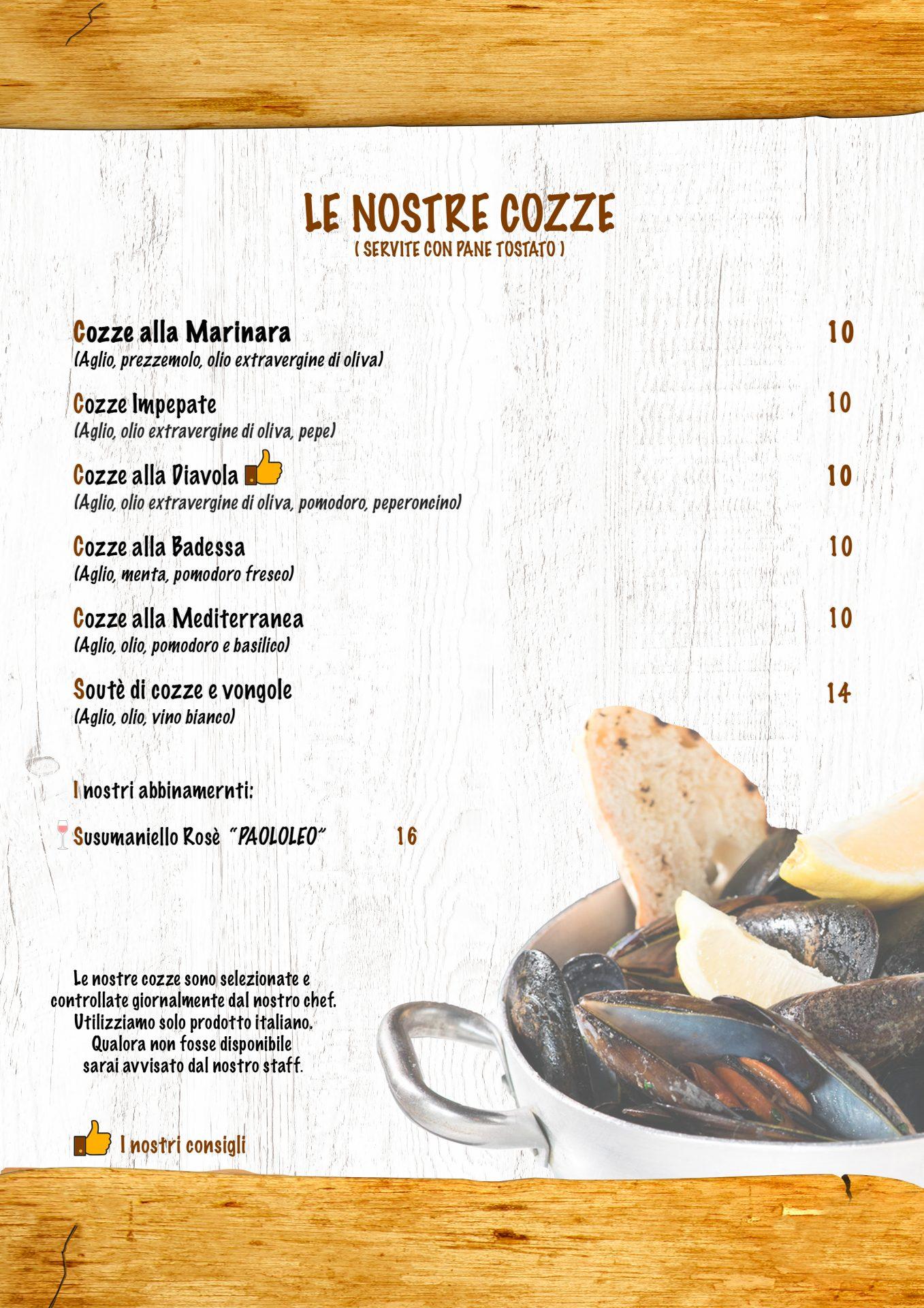 COZZE menù casale 93-5