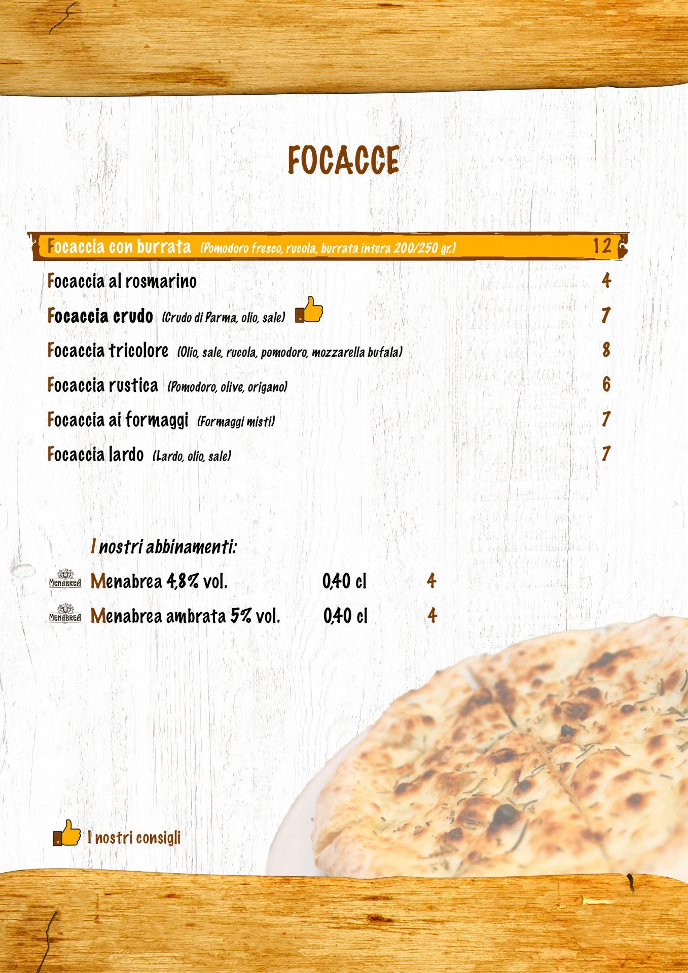 FOCACCE menù casale 93-7