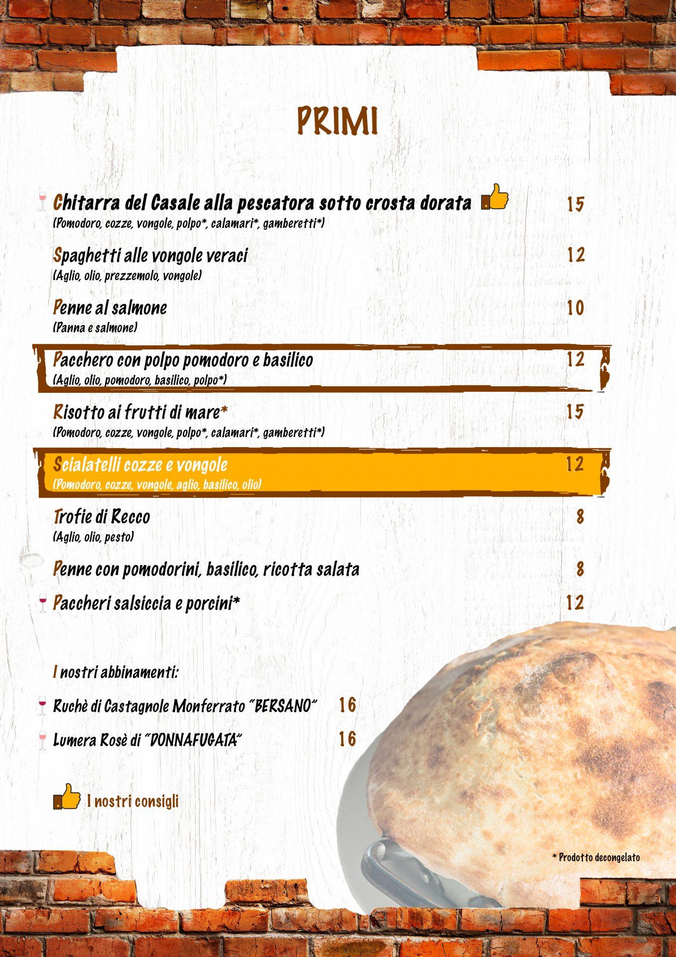 PRIMI menù casale 93-14